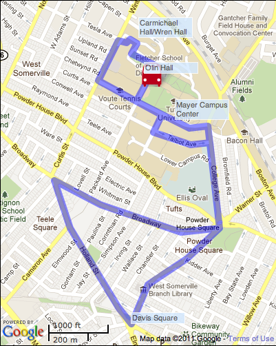 Tufts Univ. Shuttle Map