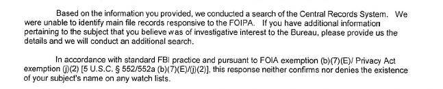 FBI Foia Response