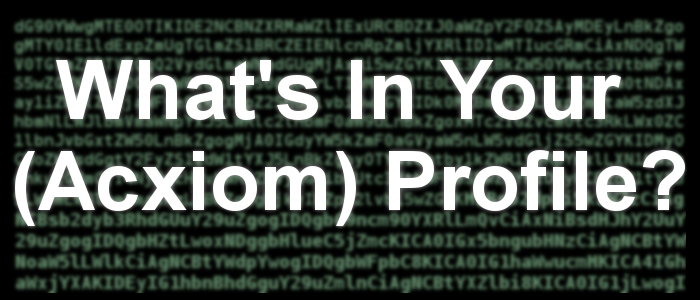 What's In Your (Acxiom) Profile