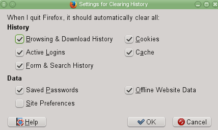 Settings to automatically clear data when Firefox closes
