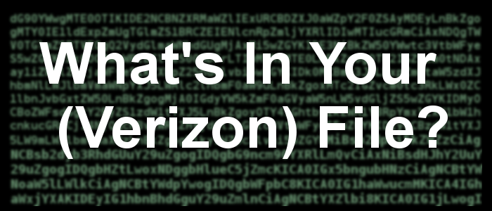 What's in your (Verizon) file?
