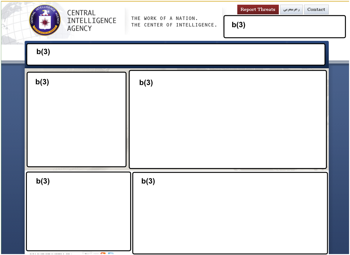 Hypothetical rendering of a redacted CIA intranet homepage