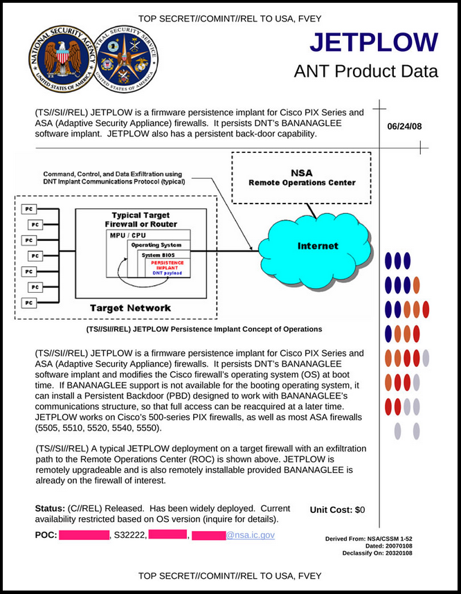 JETPLOW page from the NSA's ANT Catalog