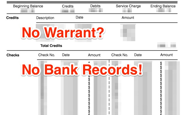 Prevent warrantless searches of our bank accounts